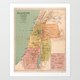 Map of Palestine in the Time of Christ (to 70 A.D.) Art Print