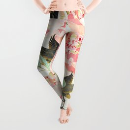 Floral Cranes Leggings