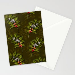 Coffee Plant Branches w/ Coffee Cherries & Flowers Stationery Cards