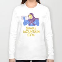 gym Long Sleeve T-shirts featuring snake mountain gym by Louis Roskosch