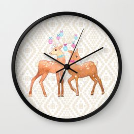Watercolor Deer on Geometric Pattern Wall Clock