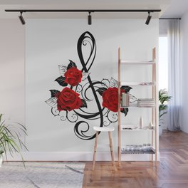 Black Musical Key with Red Roses Wall Mural