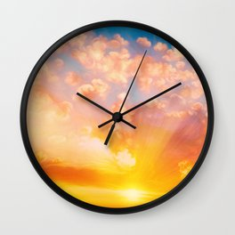 Sunset feather Wall Clock
