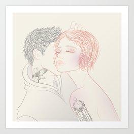minimalist tattooed couple portrait Art Print