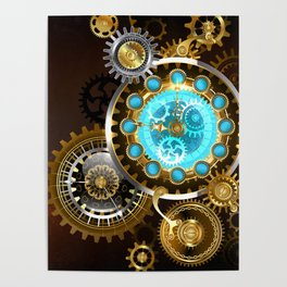 Unusual Clock with Gears ( Steampunk ) Poster