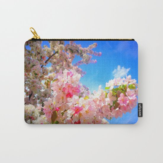 Pink Flowers Blue Sky Carry-All Pouch