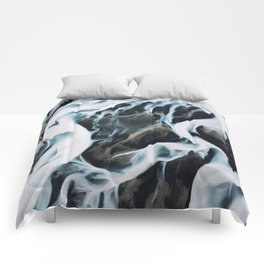 Aerial of an abstract River in Iceland Comforters