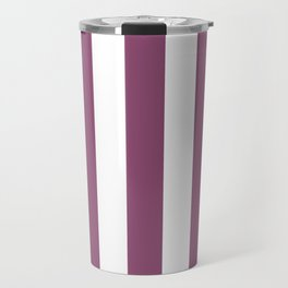 Sugar Plum violet - solid color - white vertical lines pattern Travel Mug