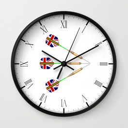 Darts With Union Jack Flag Wall Clock