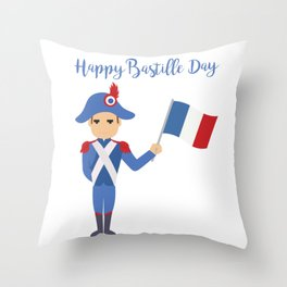Soldier holding the French flag - Bastille Day Throw Pillow