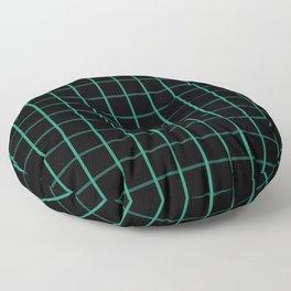 Large Elf Green on Black Grid Pattern | Floor Pillow