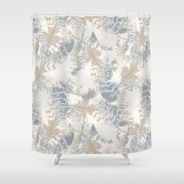 Owls, fashionable, modern, abstract, white, gray, blue, muted , pastel, beige, brown, Shower Curtain