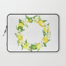 watercolor wreath lemon Laptop Sleeve