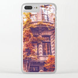 Dressed Up in Autumn - New York City Brownstones Clear iPhone Case