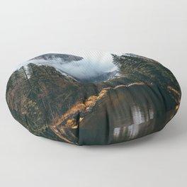 Misty Yosemite River Floor Pillow