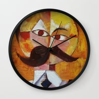 nietzsche Wall Clocks featuring Friedrich Nietzsche by Renee Bolinger