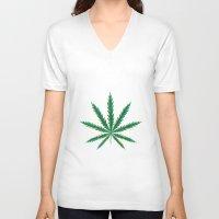 cannabis V-neck T-shirts featuring Marijuana. Cannabis leaf  by artskvortsova