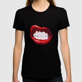Lips kiss party red pink red lick wedding teeth smile swag T-shirt