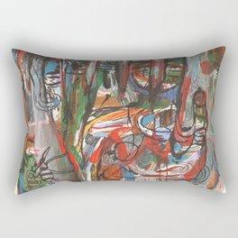Mà abstracta de colors amb monstre a l 'esquerra Rectangular Pillow