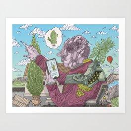 Cactusfinder geotags saguaro Art Print