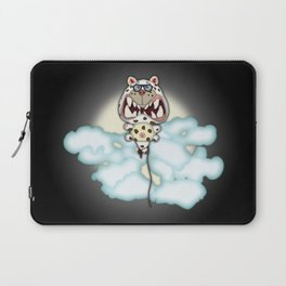 Funny Scared White Cat Balloon With Glasses Laptop Sleeve