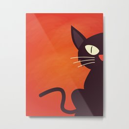 Primitive Halloween Cat Decor Metal Print