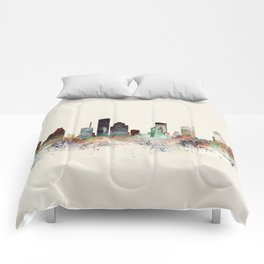 houston skyline Comforters