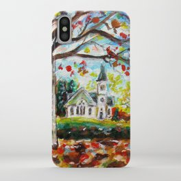 Red Cardinal peaceful white church autumn fall painting iPhone Case