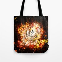 vegeta Tote Bags featuring Goku Vegeta DBZ Face by K2idesign