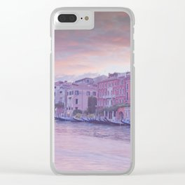 Venice in pastel, pink soft fluffy clouds over Venice, Italy Clear iPhone Case