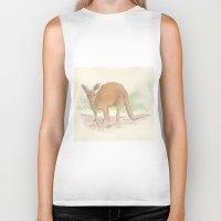 kangaroo Biker Tanks featuring Kangaroo. by Mariel Castro