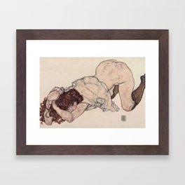 KNEELING GIRL, RESTING ON BOTH ELBOWS - EGON SCHIELE Framed Art Print