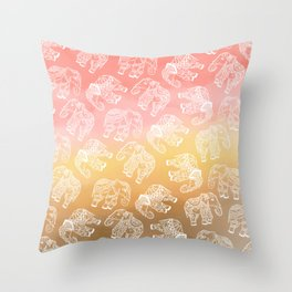 Paisley floral lace elephants illustration pink brown boho watercolor Throw Pillow