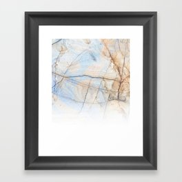 Cotton Latte Marble - Ombre blue and ivory Framed Art Print