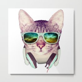 Hipster Cat Metal Print