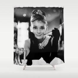 Audrey Hepburn, Tiara, Jewelry, Black and White Wall Art Shower Curtain