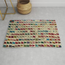 Vintage Naval Flags of The World Illustration Rug