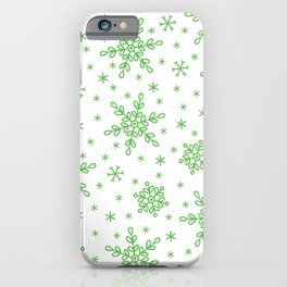 Christmas Holiday Green Snowflake Pattern iPhone Case