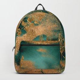 Watercolor Emerald Green Marble Tropical Flower Garden Backpack