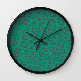 BOHO LEOPARD TEAL Wall Clock