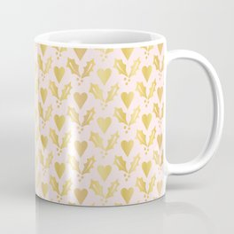 Luxe Rose Gold Foil Christmas Holly Berries Heart Pattern, Seamless Coffee Mug