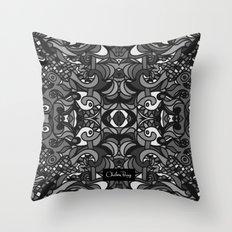 Parti Gras Black and White Throw Pillow