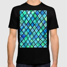 Hand Painted Cobalt Blue & Emerald Green Watercolor Pattern Mens Fitted Tee Black MEDIUM