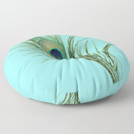 Peacock Feather on Blue Background Floor Pillow