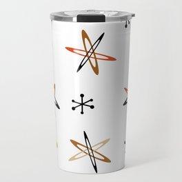 Atomic Era Space Age Orange Brown White Travel Mug