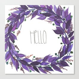 Hello purple wreath Canvas Print