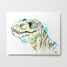 T-Rex - Tom the T-rex Colorful Watercolor Painting Metal Print