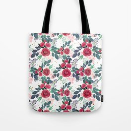 Cute Rose Pink Peonies Watercolor Paint Gold Dots Design Tote Bag