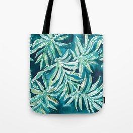 SANTA CRUZIN' Navy Tropical Palm Leaves Tote Bag