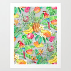 Tropical Paradise Fruit & Parrot Pattern Art Print